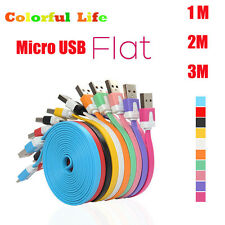 3/6/10ft Flat Noodles Micro USB Data Sync Charging Charger Cable For Cell Phones