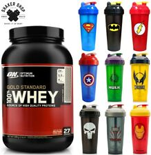 Optimum Nutrition Whey Protein Powder 908g + DC Comics / Marvel Shaker Bottle