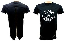 New Fashionable Time is Money Back Side Long Zip Urban Hip Hop Style T-shirt Top
