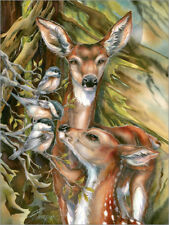 Cuadro sobre lienzo Deer and birds - Jody Bergsma
