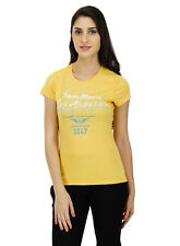 Five Stones Women's Yellow All Over Print T-Shirt (FS1469W0108)