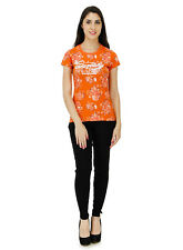 Five Stones Women's Orange All Over Print T-Shirt (FS1469W0104)