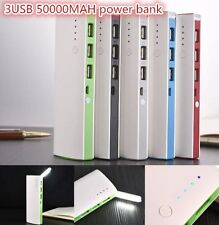 50000mAh 3 USB Backup External Battery Power Bank Pack Charger for Cell Phone fn