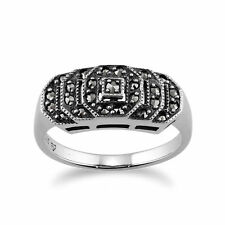 Sterling Silver 0.28ct Marcasite Art Deco Style Ring