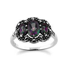 Sterling Silver 1.3ct Mystic Green Topaz & Marcasite Ring