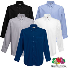 Fruit of the Loom Hombre Camisa Oxford Bolsillo Manga Larga Cuello Abotonado