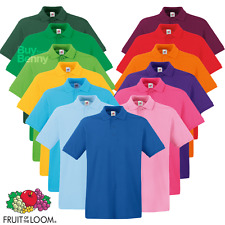 FRUIT OF THE LOOM HOMME POLO PREMIUM COTON GOLF ,tennis Col Smart S-3XL