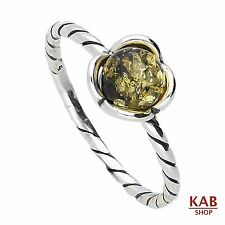 Verde Baltica Ambra Pietra Argento Sterling 925 Anello. Kab -r3