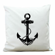 KP106 wandtattoo-loft déco Coussin Polyester Blanc ANCRE MARITIME SURCHARGE