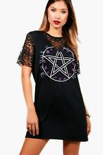 Boohoo Eva Halloween Lace Insert T-Shirt Dress per Donna