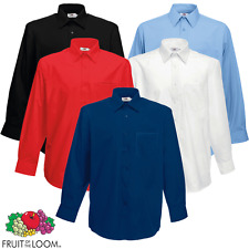 FRUIT OF THE LOOM HOMME Chemise popeline poche manches longues travail col S-3XL