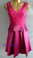 New KAREN MILLEN Fun Magenta Dress BNWT UK 8 10 14 16 Peplum Prom Party DR033