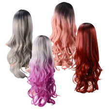 Women Long Wavy Wig 70cm Ladies Curly Ombre Heat Resistant Hair with Wig Cap
