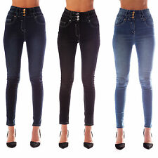Womens Ladies High Waisted Blue Skinny Jeans Stretch Denim Jeggings Size 6 - 18