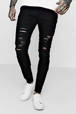 Boohoo Skinny Fit Black Jeans with All Over Rips per Uomo