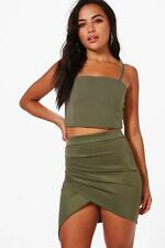 Boohoo Petite Millie Ruched Side Asymmetric Mini Skirt para Mujer