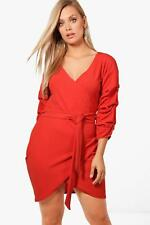 Boohoo Plus Rosie Tie Detail Wrap Dress para Mujer