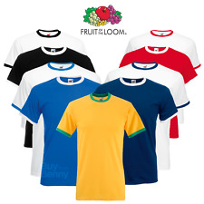 Fruit of the Loom Uomo Ringer T-Shirt Contrasto Bicolore CORTO MANICA COLLO
