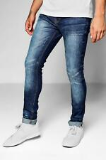 Boohoo Mid Blue Skinny Fit Denim Jeans With Whiskering per Uomo
