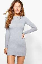 Boohoo Petite Liz Basic Long Sleeve Mini Bodycon Dress para Mujer