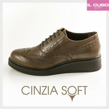 CINZIA SOFT FRANCESINA DONNA PELLE COLORE MARRONE ZEPPA H 3 CM MADE IN ITALY