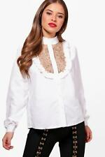 Boohoo Petite Jess Embroidery Ruffle High Neck Shirt para Mujer