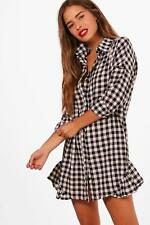 Boohoo Petite Sue Gingham Ruffle Hem Shirt Dress para Mujer