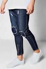 Boohoo Mid Blue Skinny Fit Cropped Jeans with Zip Cuff per Uomo