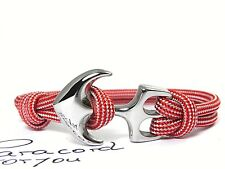 ACCIAIO INOX ANCORA armband-maritim-surfer armband-paracord-imperial red&silver