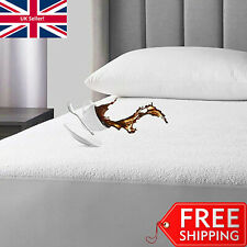 WATERPROOF MATTRESS PROTECTOR SINGLE DOUBLE SUPER KING SIZE COT BED TERRY TOWEL