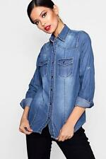 Boohoo Harriet camicia slim fit in denim a maniche lunghe per Donna