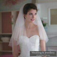White Ivory 2t Bridal Wedding Veil with Comb Elbow length Cut Edge Tier Diamante