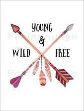 Cuadro de madera Young Wild and Free handmade art print - Nory Glory Prints