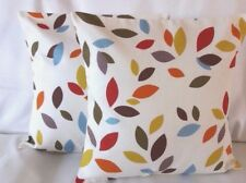 """14"""" 16"""" 18"""" New Cushion Cover Scattered Leaves Orange Red Blue Green Brown Leaf"""