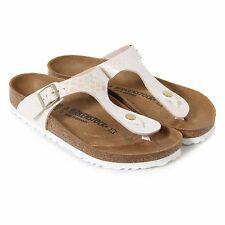 Birkenstock Women's Gizeh Birko-Flor Shiny Snake Regular Fit Sandal Cream