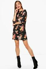 Boohoo Audrina Floral 3/4 Sleeve Shift Dress pour Femme