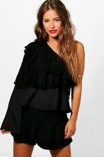 Boohoo Petite Joslyn Ruffle One Shoulder Lace Top para Mujer