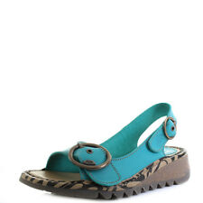 Womens Fly London Tram Brooklyn Verdigris Green Low Wedge Sandals Sz Size