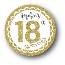 12 Faux Gold Glitter 21st/18th Birthday Bash Stickers