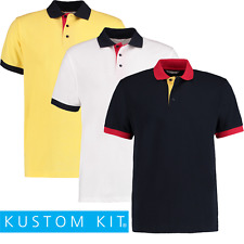 Kustom Kit Hombre Contraste Polo Golf causual Cuello Top Manga Corta s-2xl