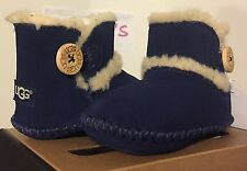 UGG Australia LEMMY Boots Booties Infant Baby Boy Girl Shearling SUEDE PCT Blue