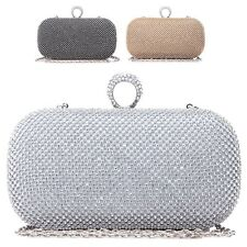Ladies Diamante Ring Clutch Bag Cocktail Party Bag Handbag Bridal Purse 25009