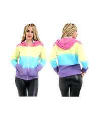 NEW WOMENS LADIES RAINBOW TIE DYE FRONT  ZIP HOODIE HOODED SWEATSHIRT TOP JUMPER