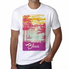 Blue Escape to paradise Hombre Camiseta Blanco Regalo 00281