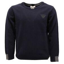2740V maglione bimbo ARMANI JUNIOR lana blue wool sweater boy kid