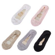 2,3,5 Pairs Women ladies No Show Lace Socks Anti Slip Liner Socks size 4-7