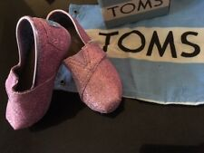 NEW TOMS GLITTER CANVAS LILAC WITH LOGO SHOE BAG SIZE TINY EU 23 UK7 SALE £10
