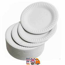 """9"""" WHITE ROUND DISPOSABLE PAPER PARTY PLATES LARGE 23CM"""