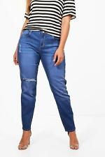 Boohoo Plus Tilly Mid Rise Skinny Ripped Knee Jean para Mujer