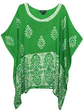 eaonplus LIGHT-GREEN Contrast Batik Print Kaftan Tunic Top